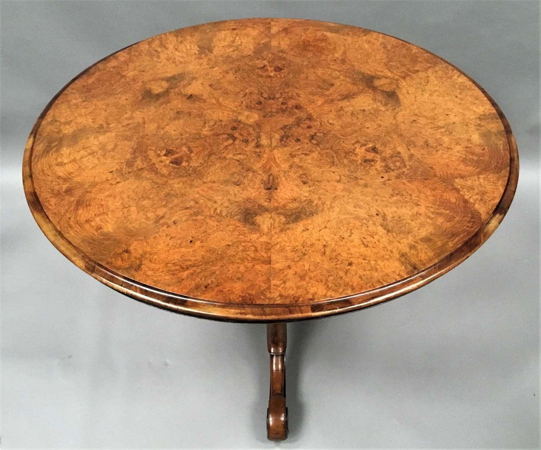 C19th burr walnut centre table