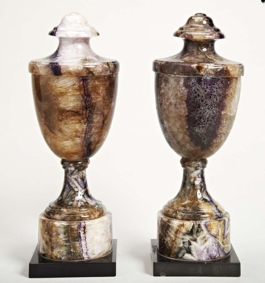 English Regency pair of Blue John urns