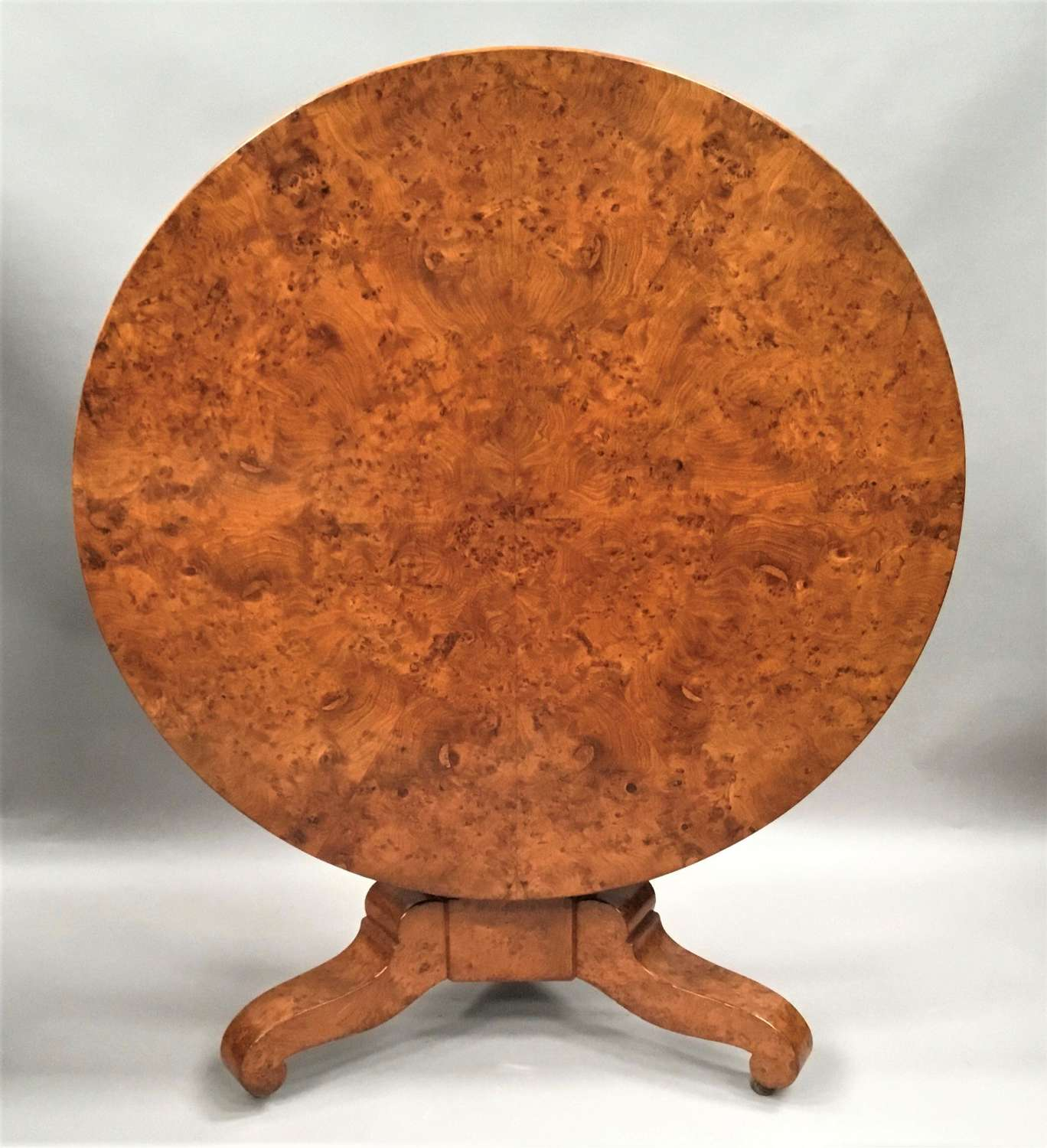 C19th burr ash centre table