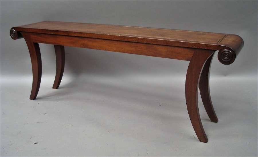 Regency mahogany hall bench / window seat