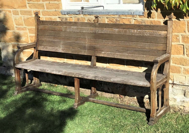 C19th oak orangery bench / garden seat