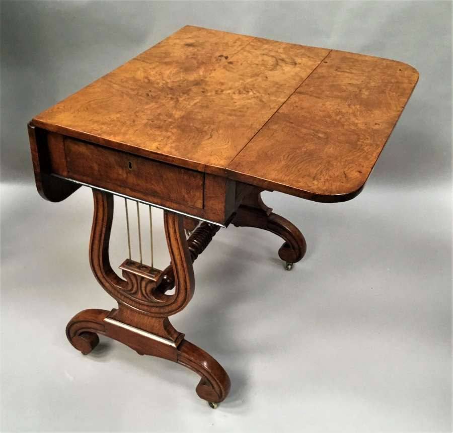 Regency pollard / burr oak, drop flap occasional table