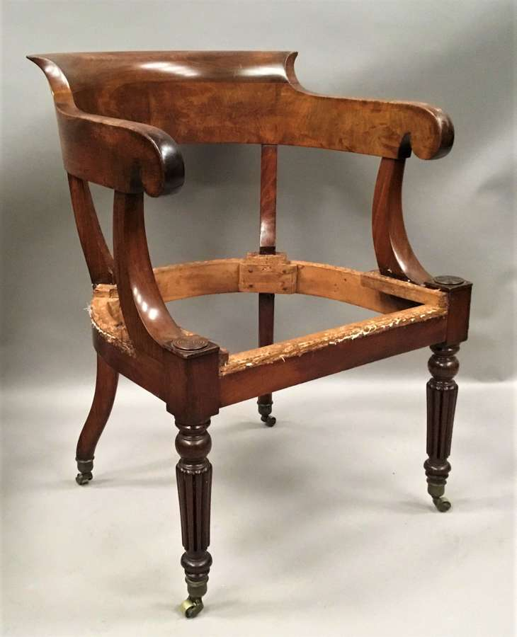 Regency figured mahogany desk chair