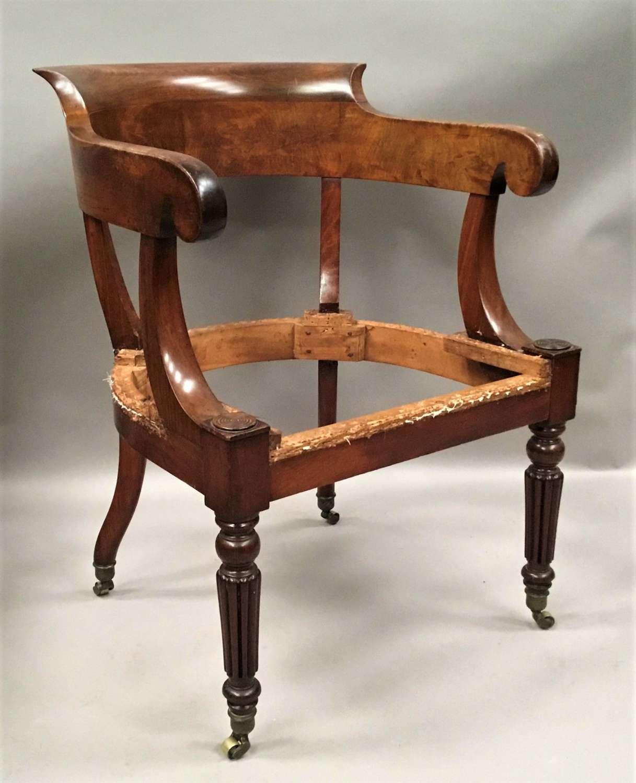 Regency figured mahogany desk chair