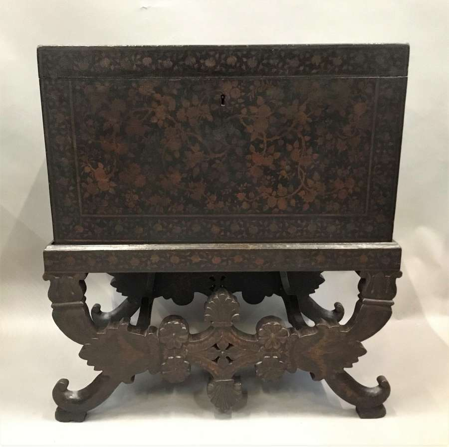 Rare mid C19th Indian lacquered chest / trunk on stand