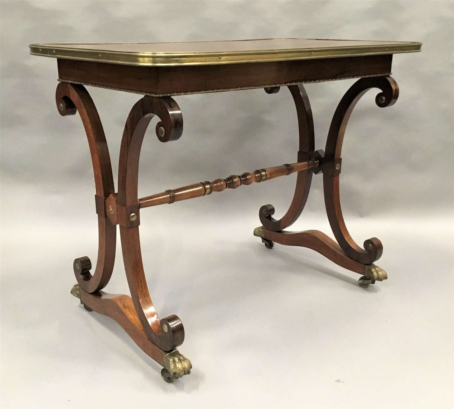 Smart Regency rosewood brass mounted centre table