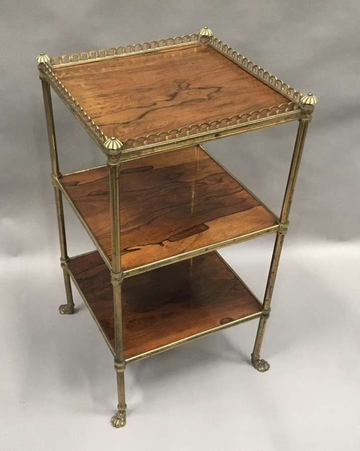 Exceptional Regency rosewood and gilt brass etagere / whatnot