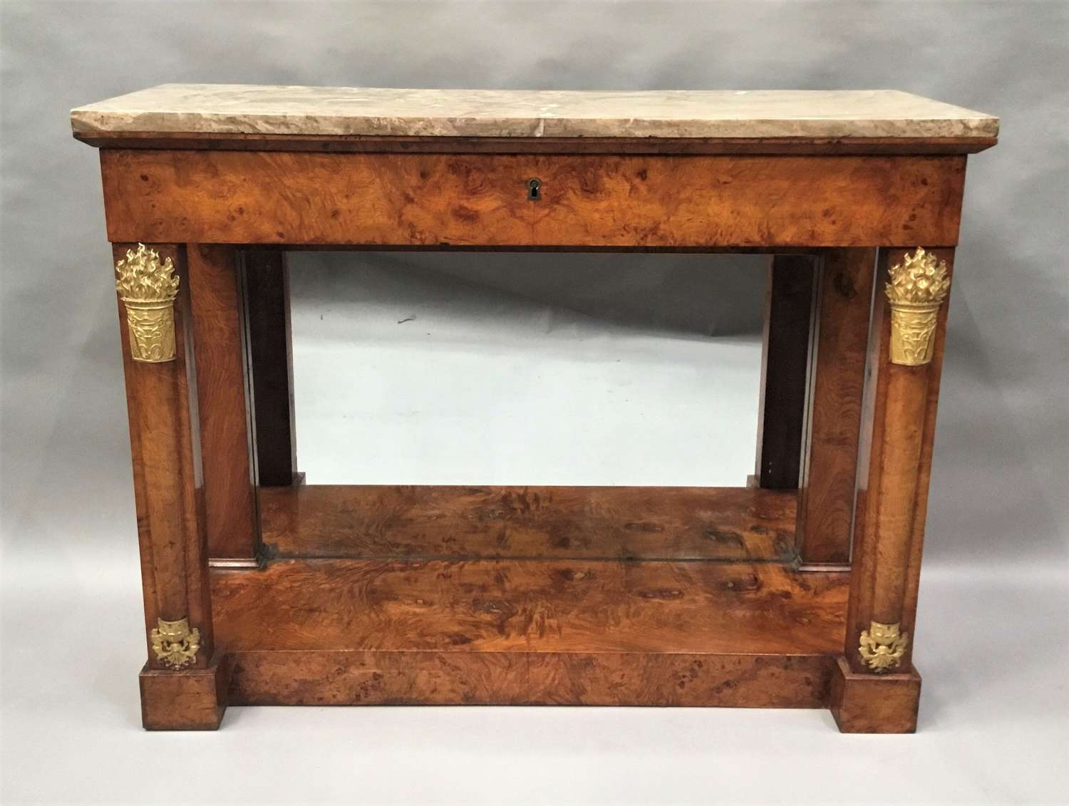 C19th Empire burr elm console table