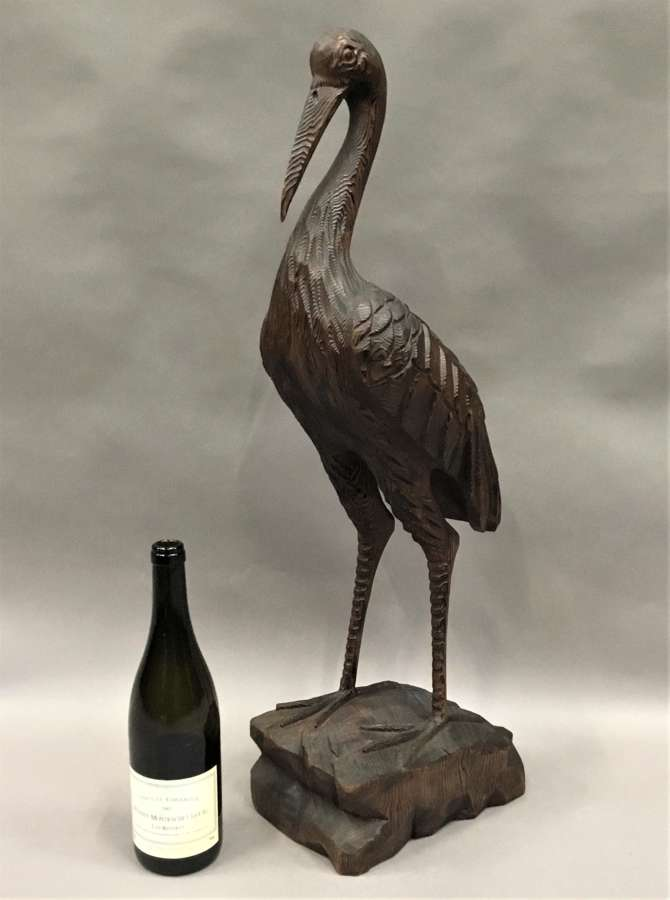 Unusual C19th carved pine heron