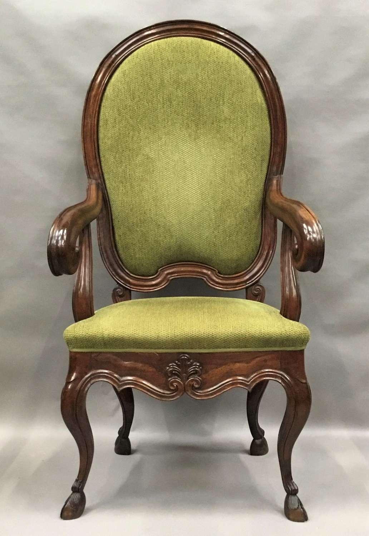 C18th Italian walnut high back open armchair