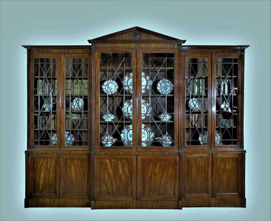 George III mahogany breakfront bookcase