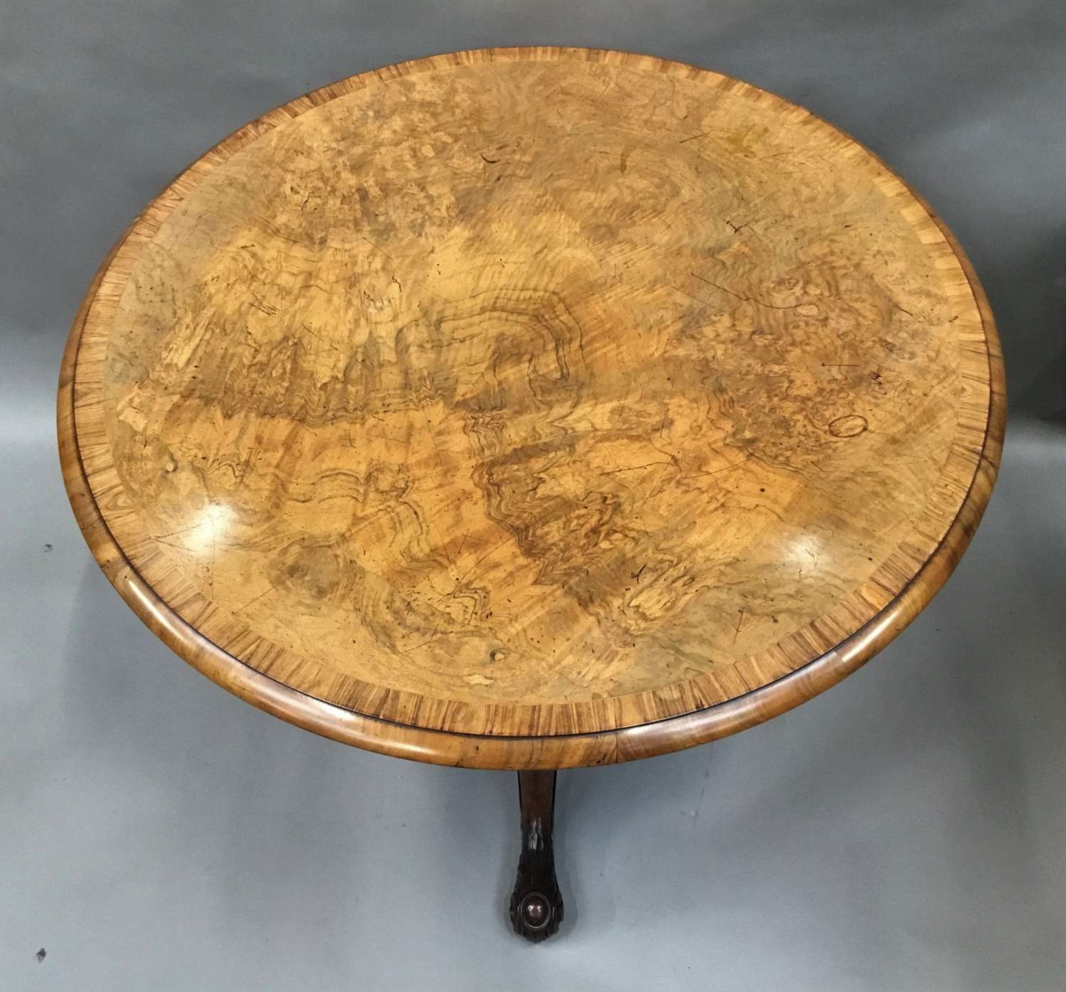 George IV Gillows centre table in burr walnut and goncalo alves