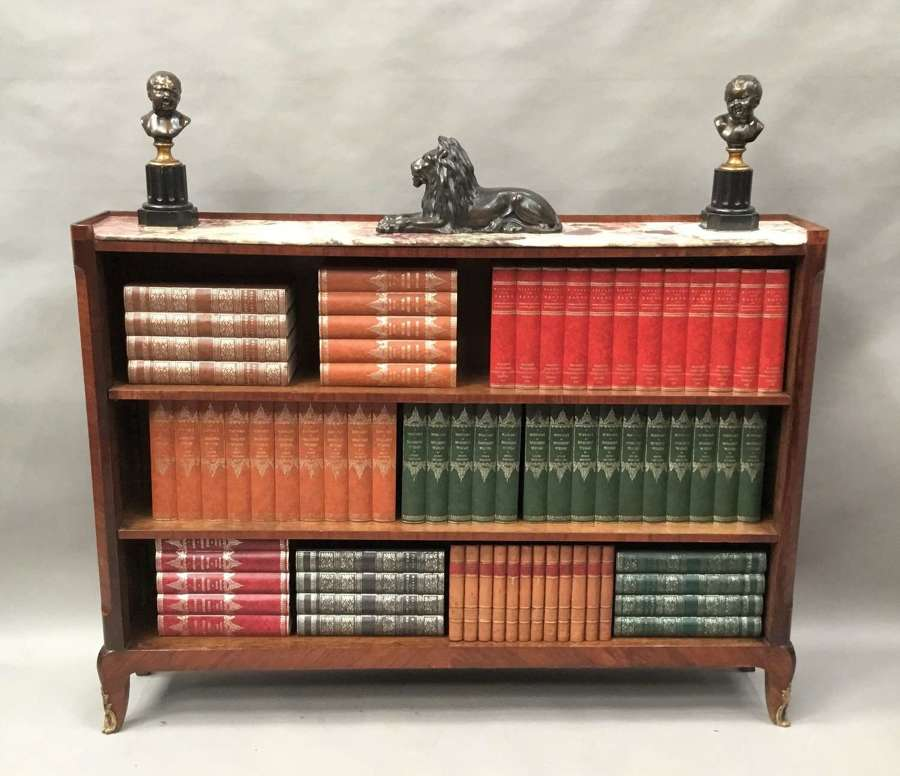 C19th Louis XV style kingwood and tulip wood open bookcase