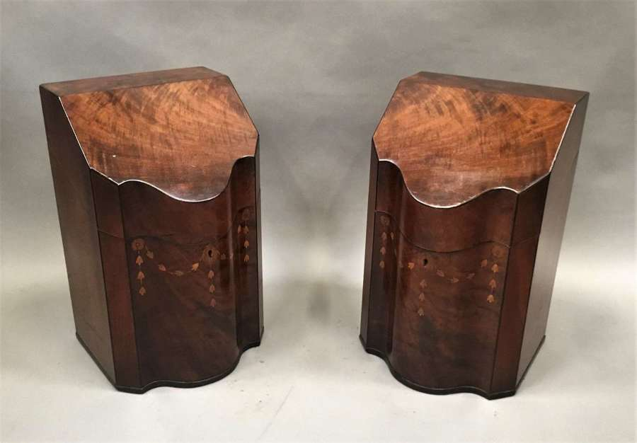George III Sheraton pair of inlaid mahogany cutlery knife boxes