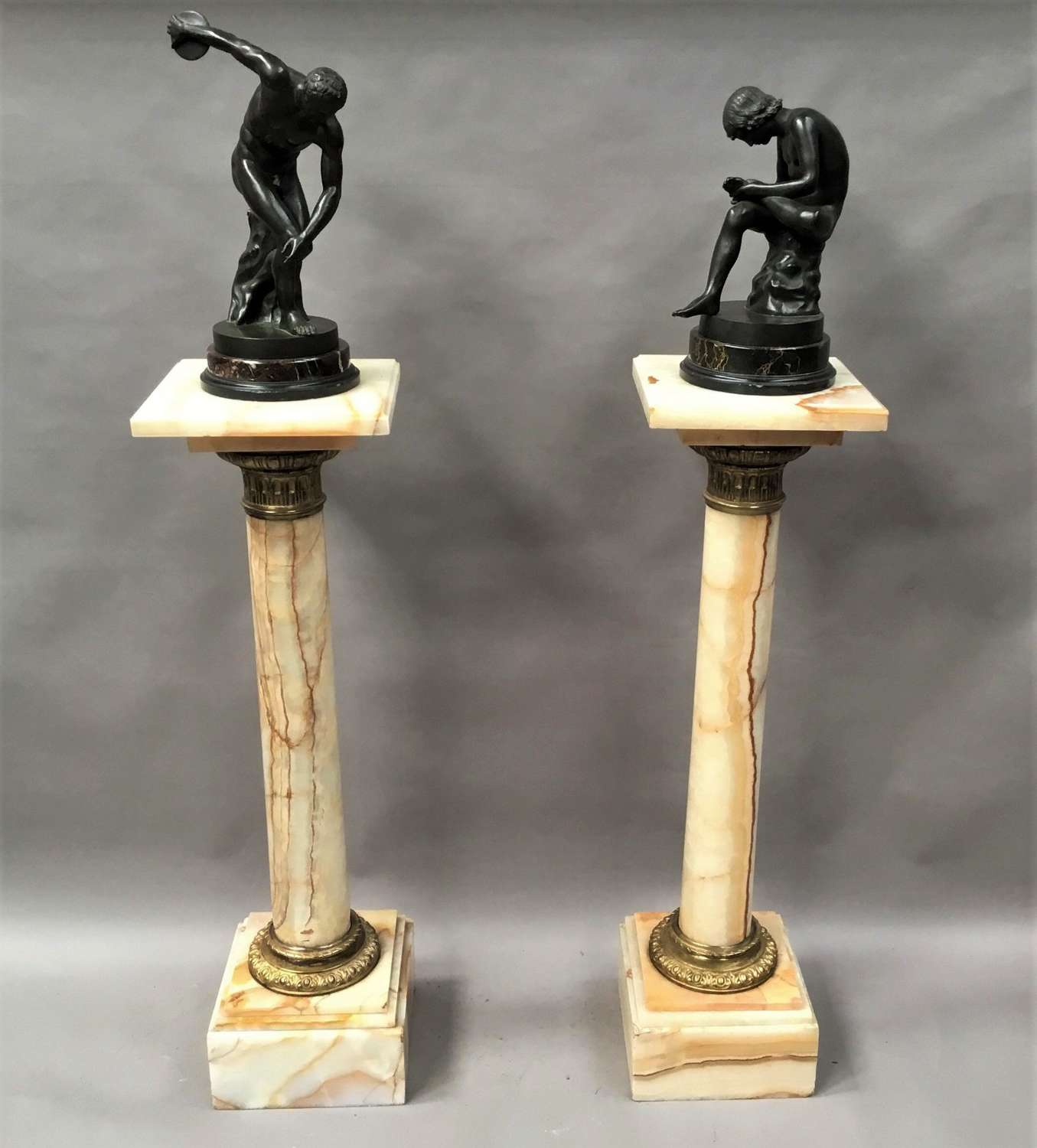 C19th pair of marble and gilt bronze pedestal columns