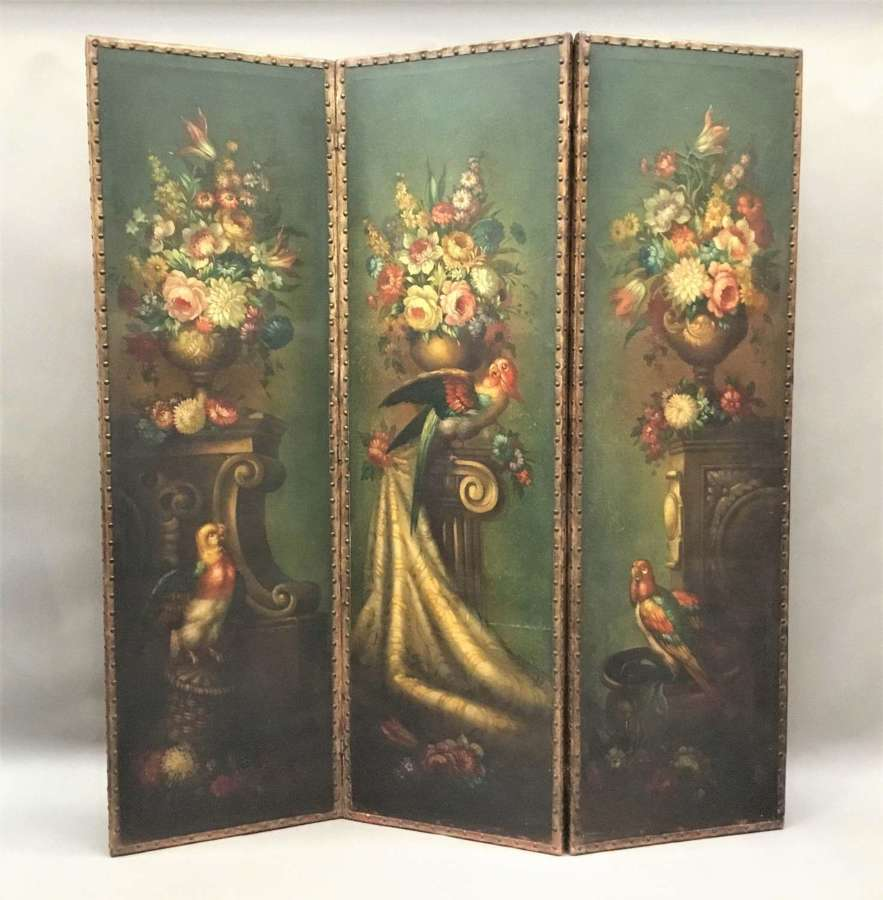 C19th painted leather three fold screen;