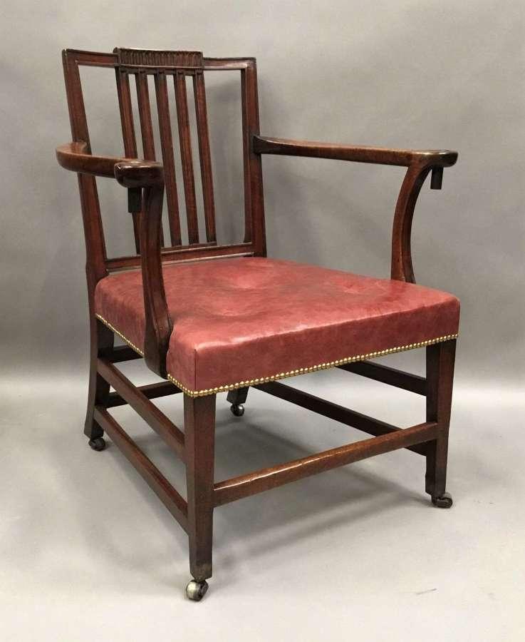 George III mahogany library open armchair