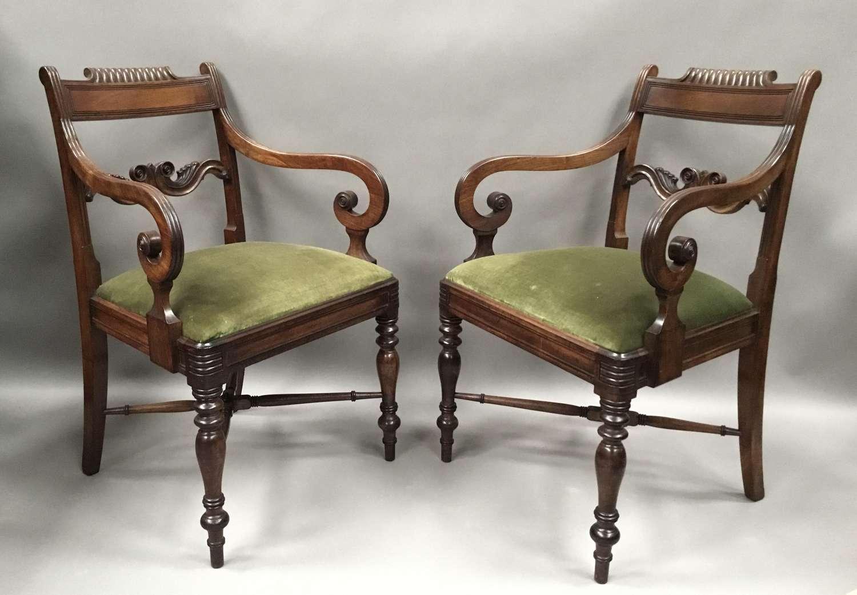 Regency pair of mahogany elbow / armchairs