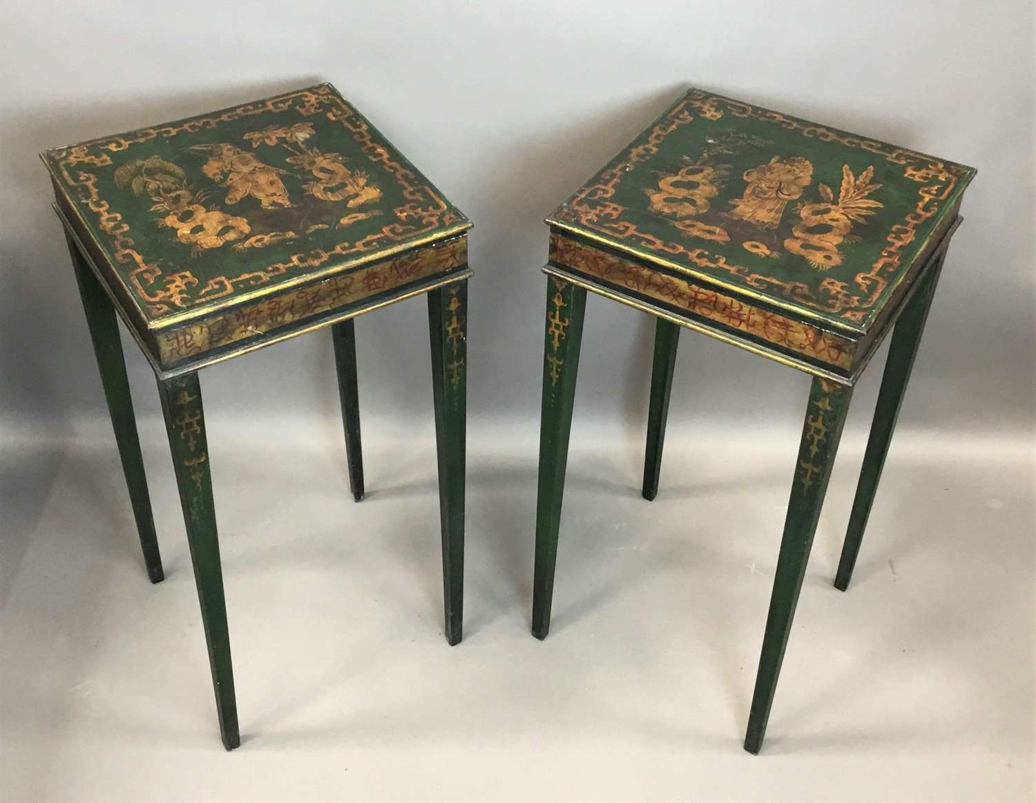 C19th pair of Chinoiserie painted occasional tables