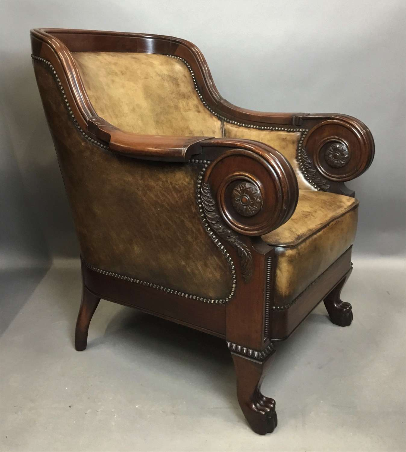 Exceptional C19th mahogany leather library armchair