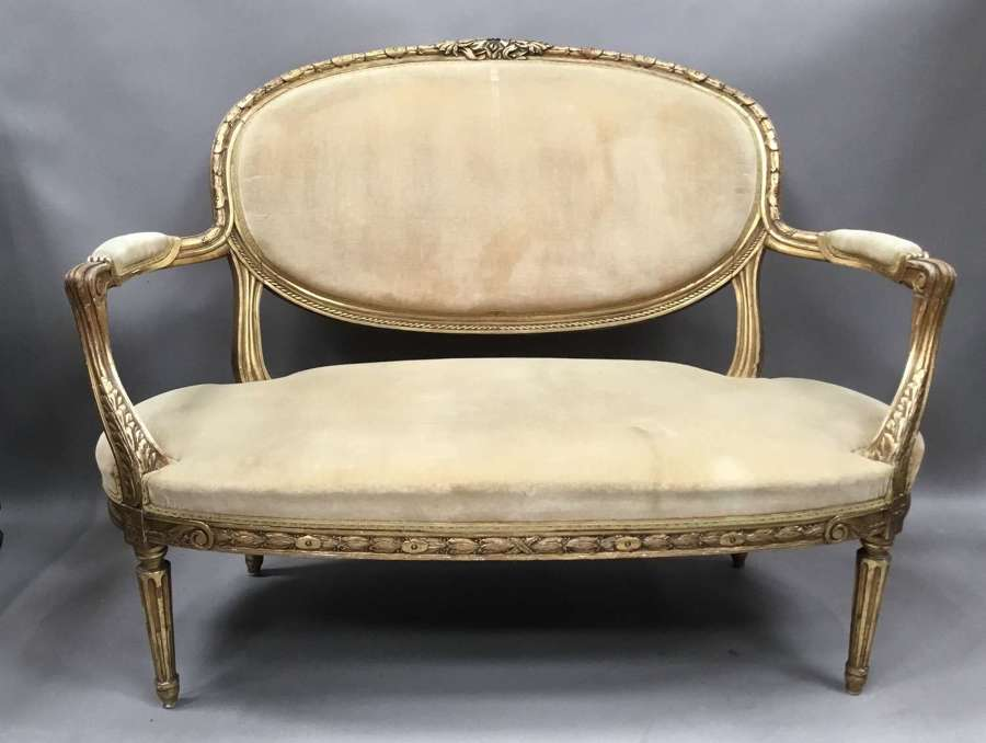 C19th carved giltwood Louis XVI style settee