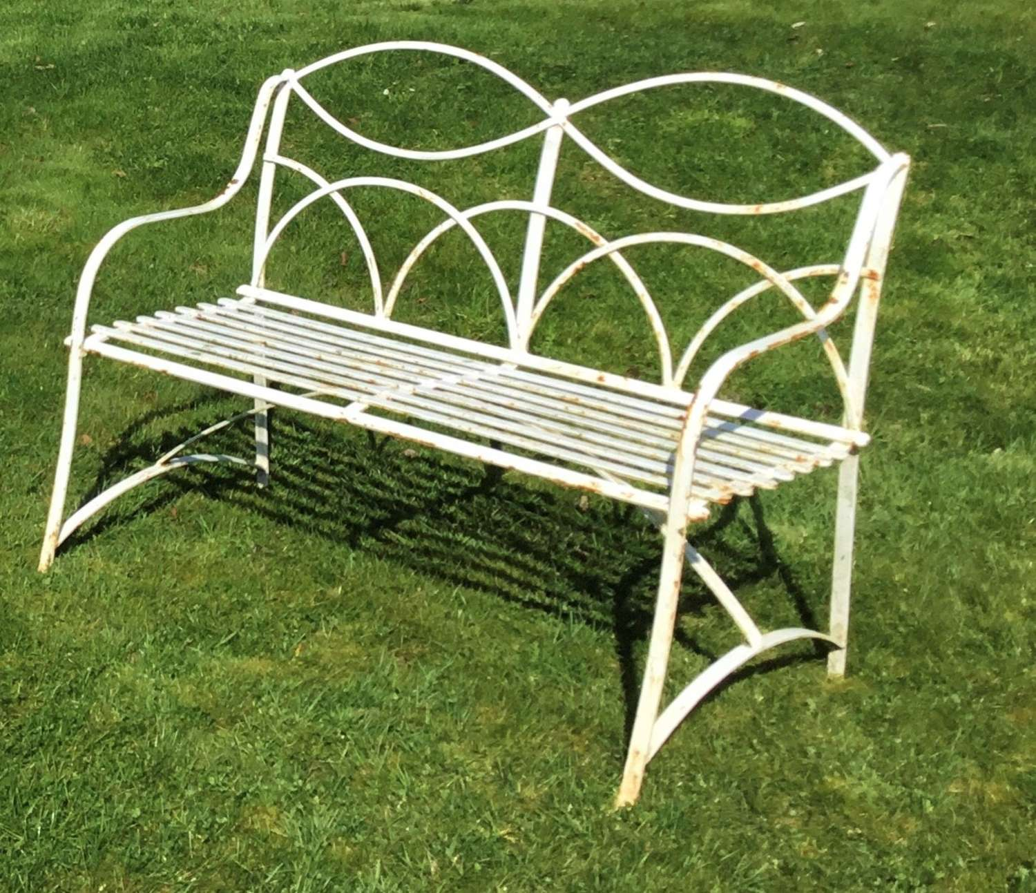 Early C20th twin seat wrought iron garden seat/bench