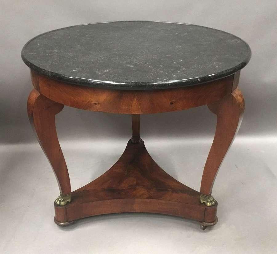 Mid C19th mahogany marble top gueridon / centre table