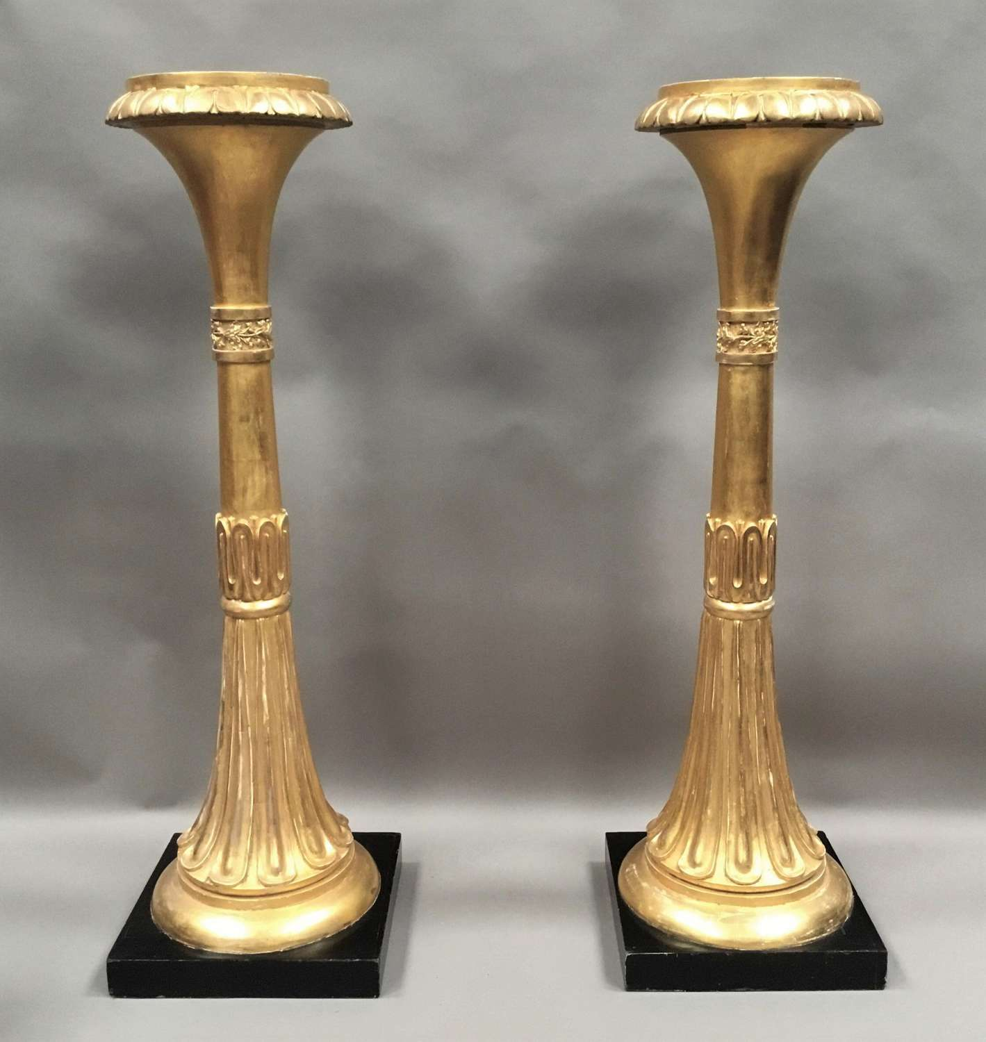 Regency pair of giltwood neoclassical torchere / stands