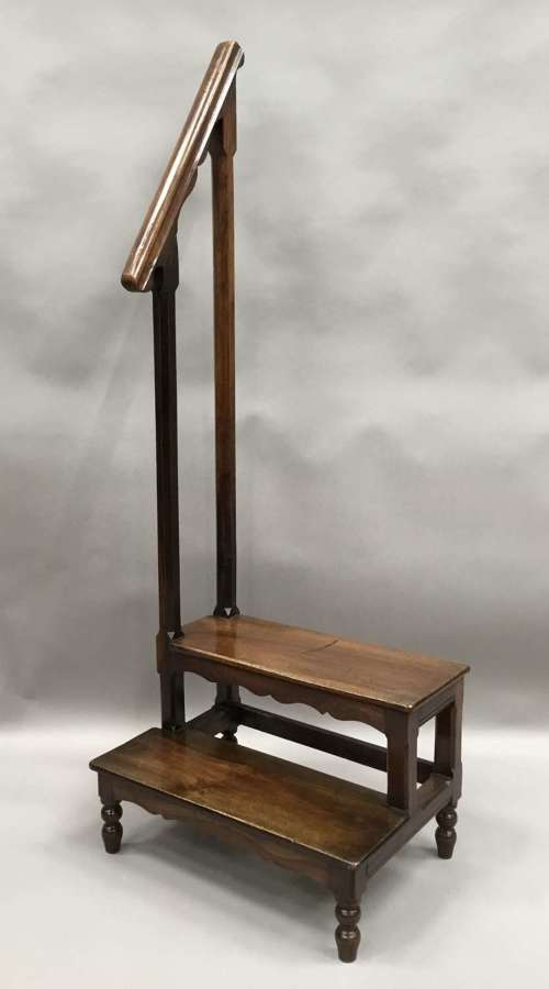 C19th walnut set of library steps