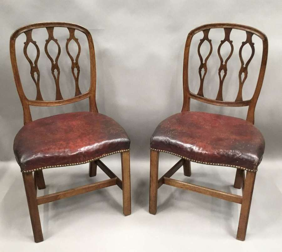 George III pair of mahogany and leather side chairs