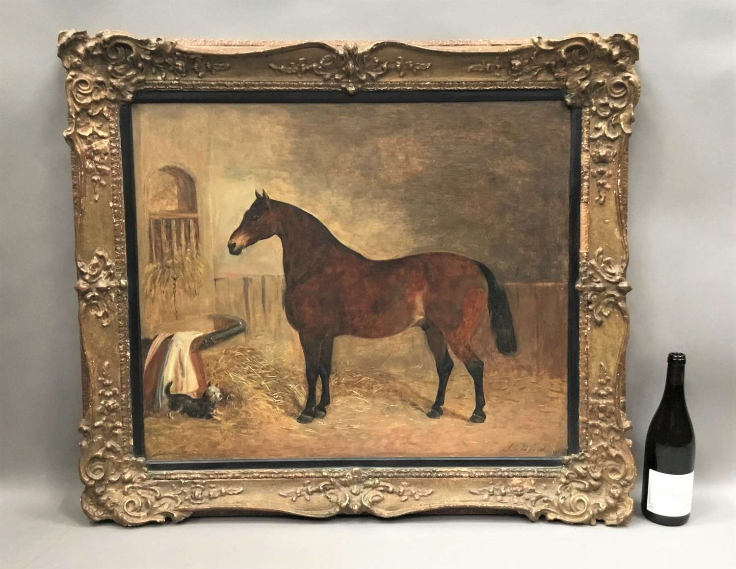 C19th oil painting of a horse and terrier by John McLeod